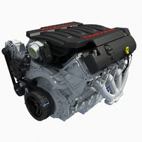 chevrolet corvette 2014 v8 engine 3d model