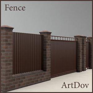 fence cottages 3d obj