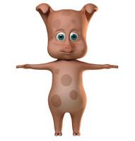 3d pig character cartoon model