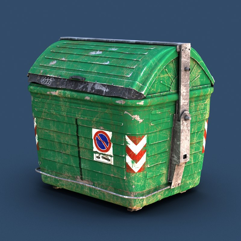 garbage dumpster ruined 3d model