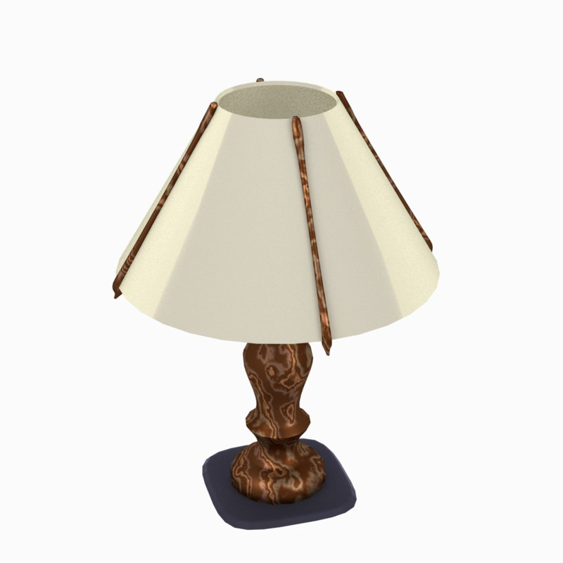 3d wooden lamp table model