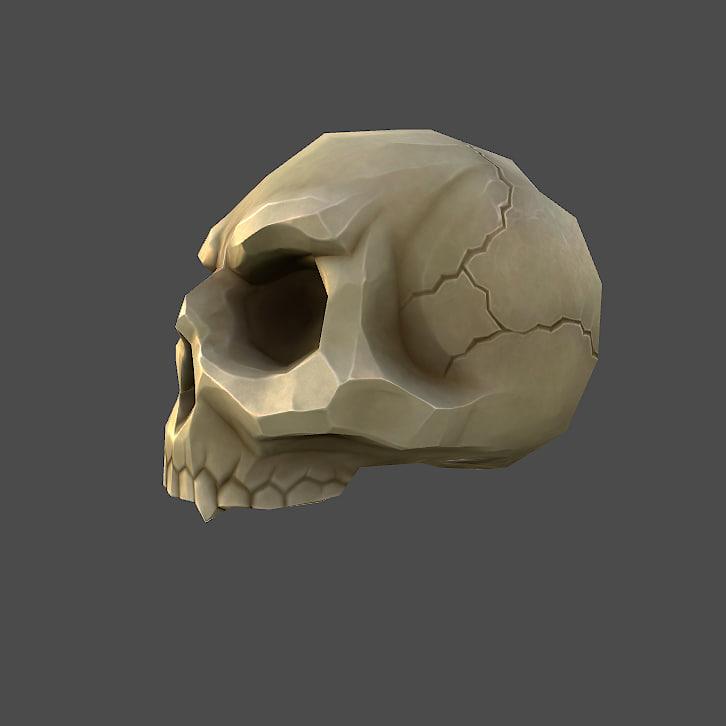 3d model low-poly cartoon skull