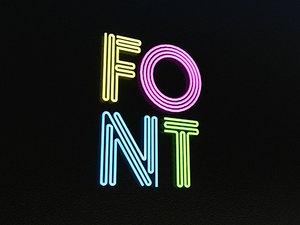 3d model of multistroke font alphabet