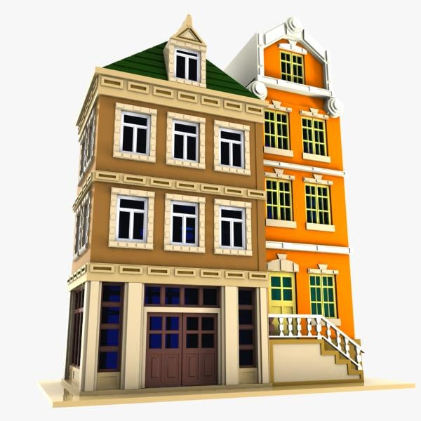 3d cartoon house toon