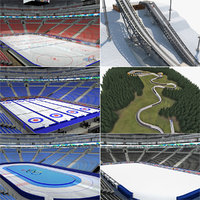 winter sports arena venues 3d model