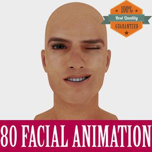 3d model realistic male head animation