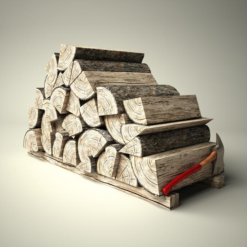 3d model logs wood old