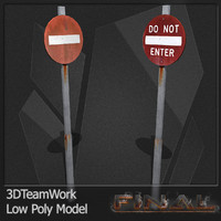 3d model final road signs set