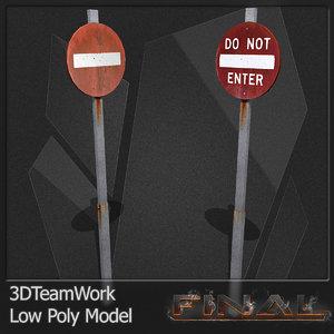 3d model final road signs set