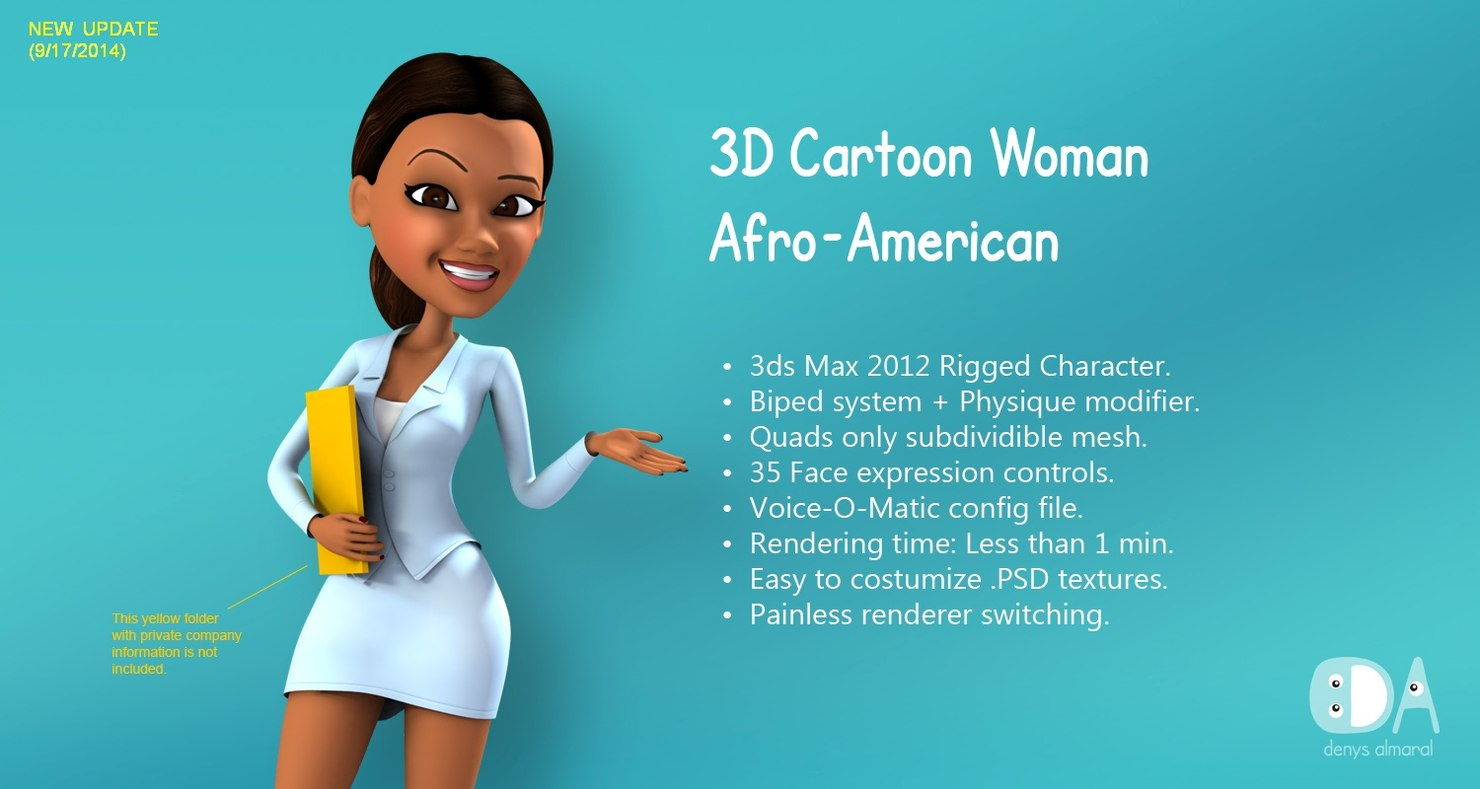 cartoon afro-american woman 3d model rigged