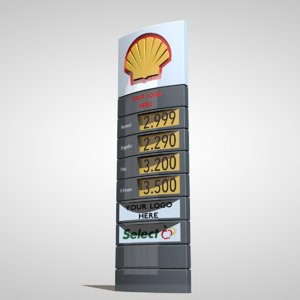 3d shell gas station totem