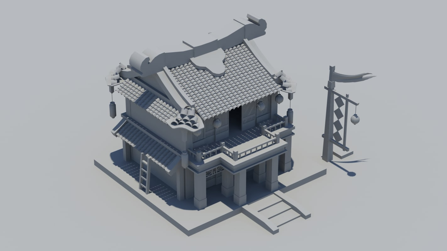 chinese ancient hotel 3d model