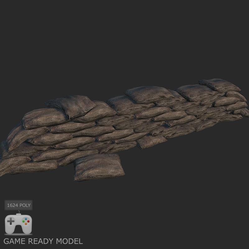 sandbag barrier 3d max
