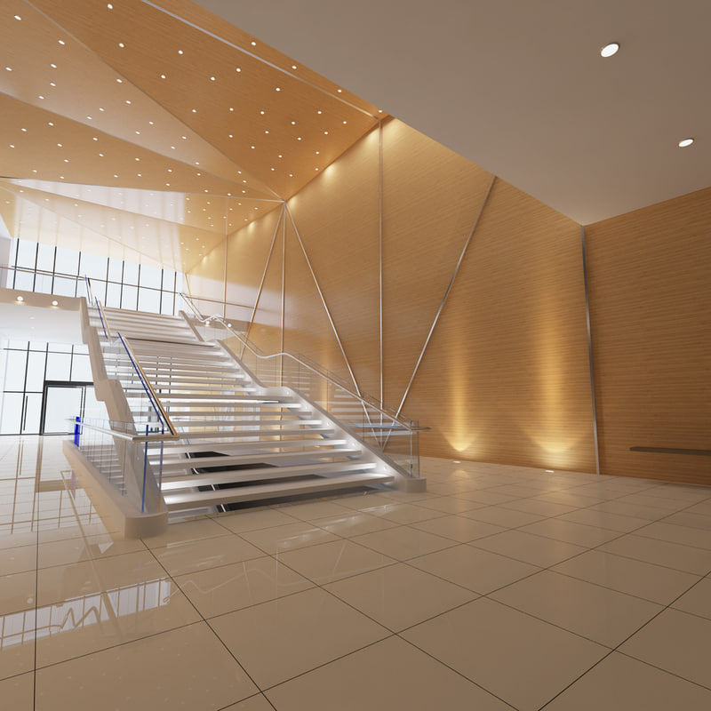 library stair scene 3d max