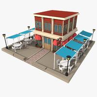 3d c4d restaurant exterior