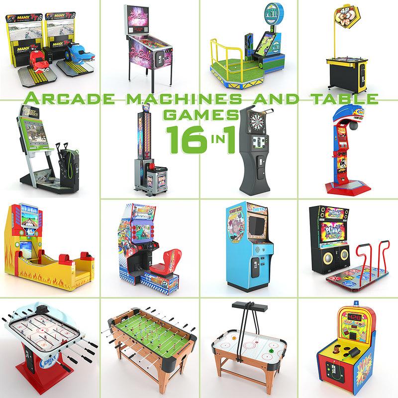 arcade machines table games 3d model