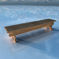 3d medieval bench