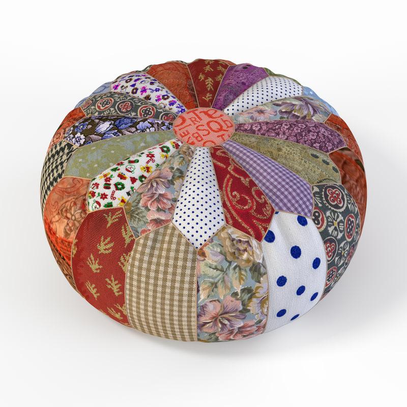 patchwork pouf fbx