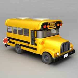 cartoon school bus obj
