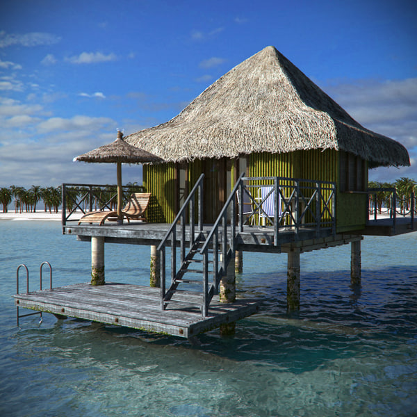 tropical beach bungalow 3d obj