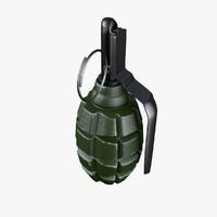 3d model hand grenades f-1