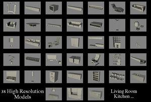 3d model of furniture pack