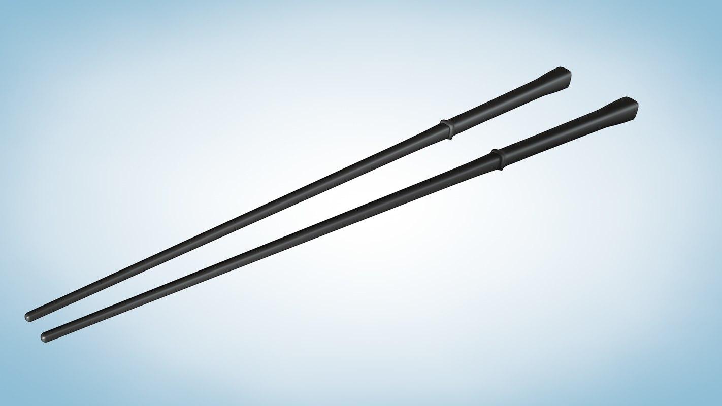 simple chopsticks 3d model