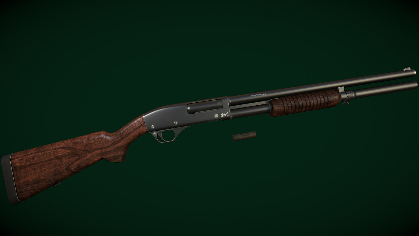 3d model shotgun baikal mp-133