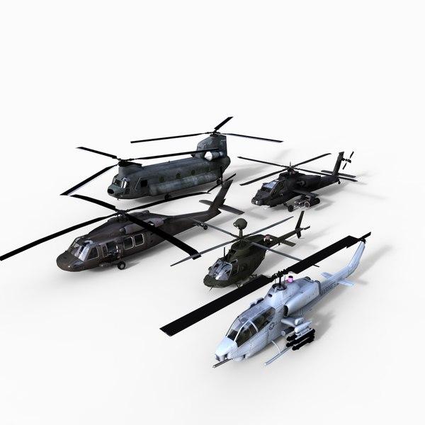 3d model of apache ch47 uh60
