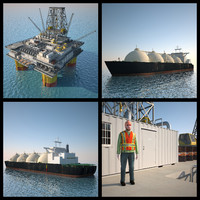 3d oil platform tanker ship