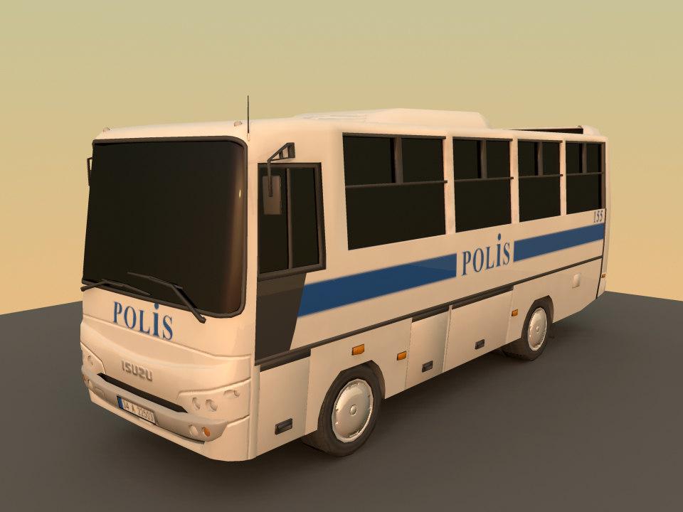 3d obj isuzu police bus
