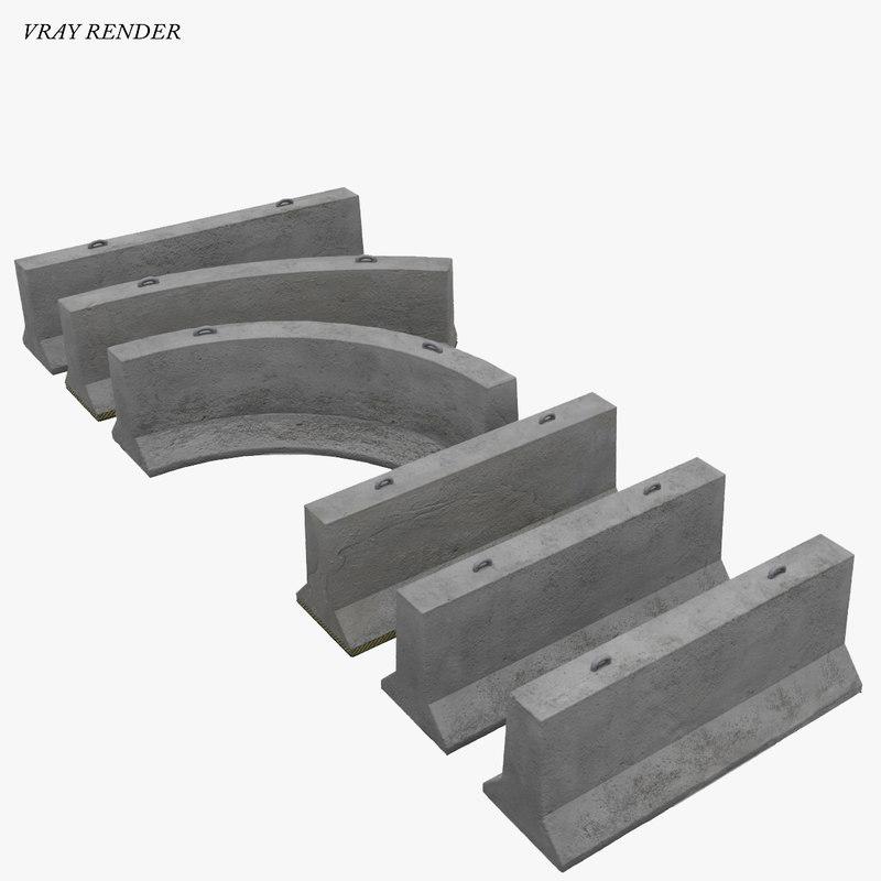 modular jersey barrier highway 3d 3ds