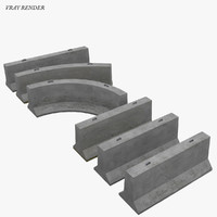 modular jersey barrier highway 3d 3ds