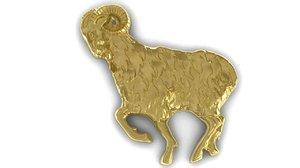 3d zodiac aries pendant