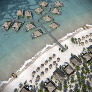3d model island beach resort