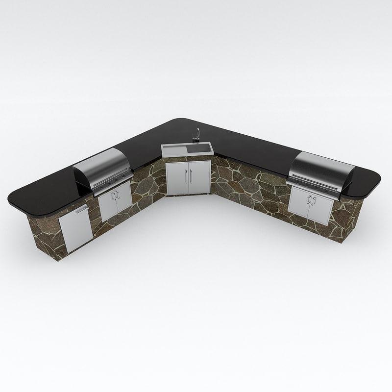3d model of outdoor kitchen