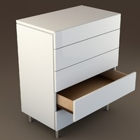 modern white drawers 3d obj