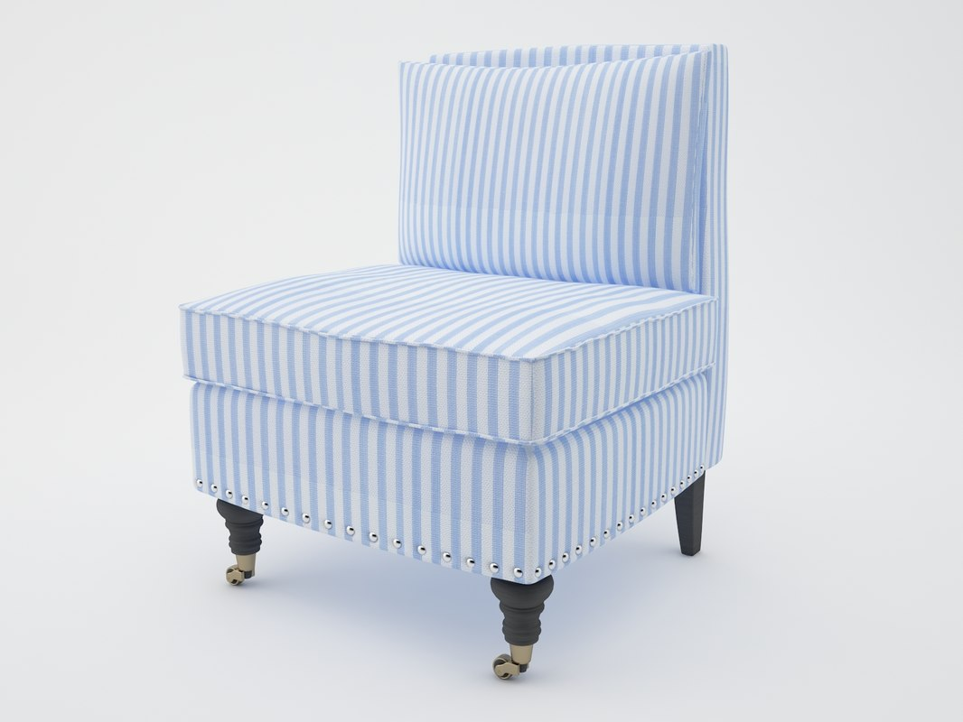 3d Model Safavieh Randy Light Blue Chair