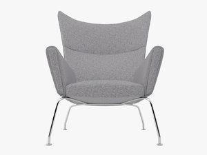 wegner ch445 wing chair 3d model