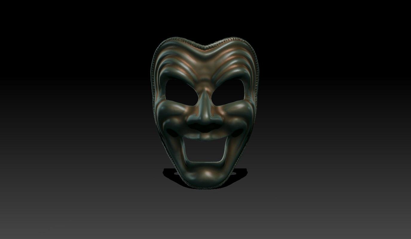 3d comedy mask model