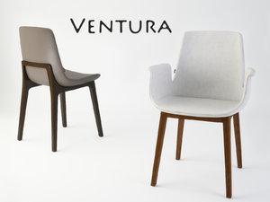 3ds max ventura dining chair poliform