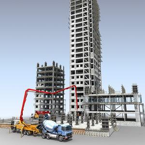 construction scene 3d model