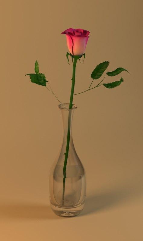 3d rose vase model