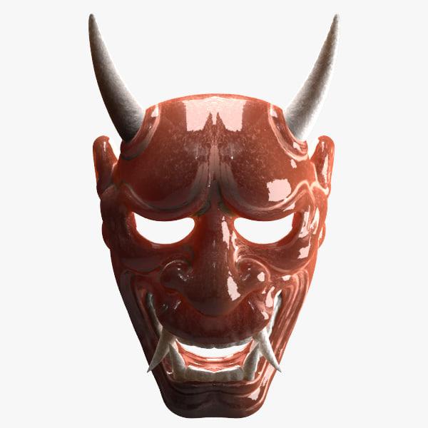 japanese demon mask 3d obj