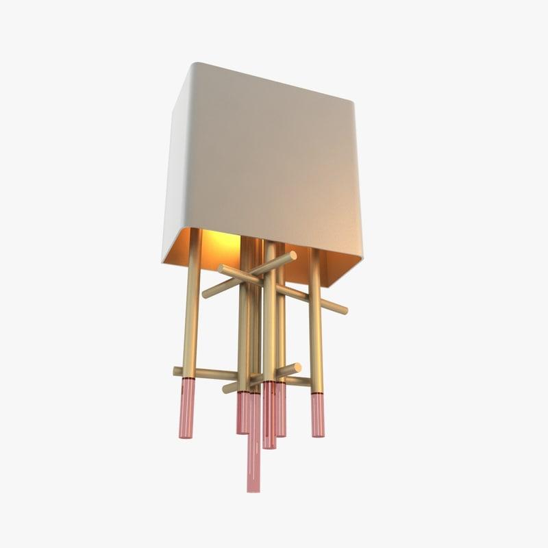 wall brass tubes 3d model