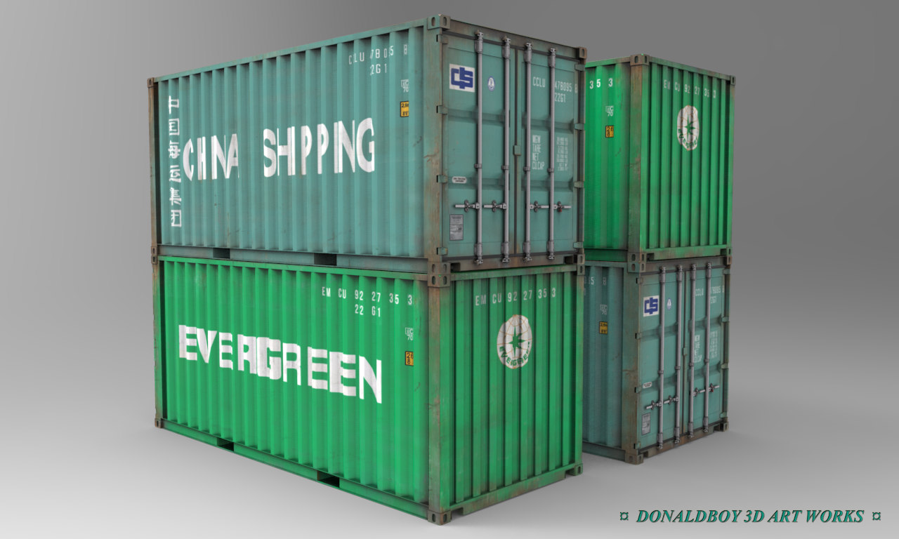 container shipping box 3d model. Black Bedroom Furniture Sets. Home Design Ideas