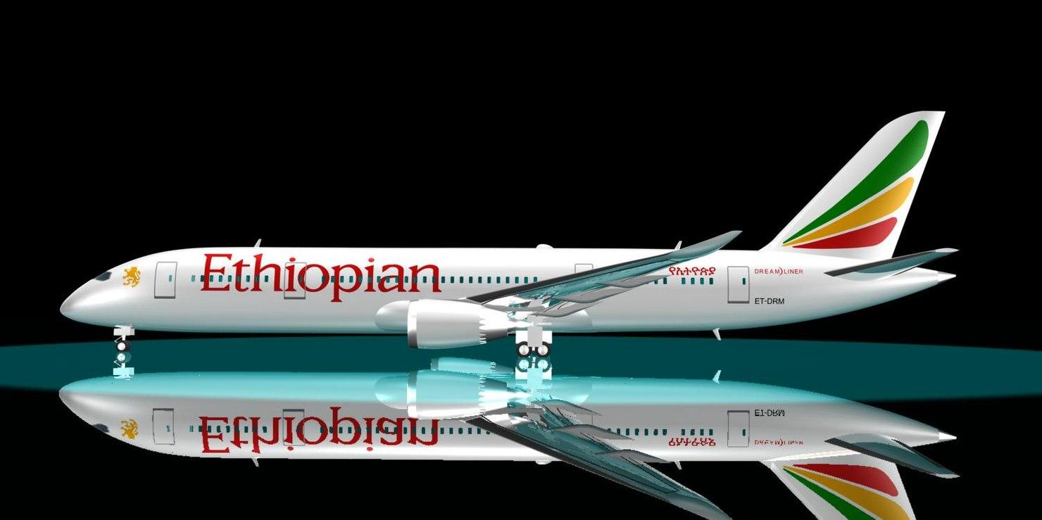 3d ethiopian 787-8 dreamliner 787