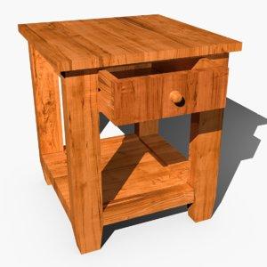 bedroom bedside table draw 3d model