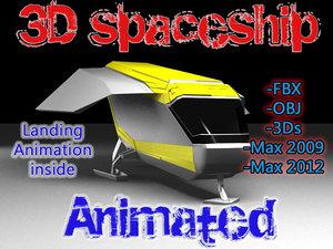 free max model sci-fi spaceship animation