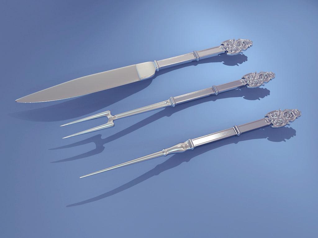 antique cutlery 3d obj